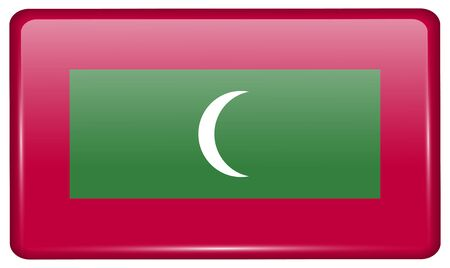 Flags of Maldives in the form of a magnet on refrigerator with reflections light. Vector illustration