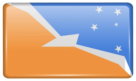 terra: Flags of Tierra del Fuego Province in the form of a magnet on refrigerator with reflections light. Vector illustration Illustration