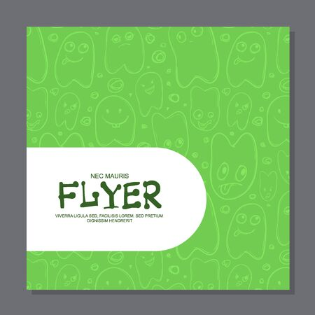 Flyers with Funny faces, cartoon-style on background. It can be used as invitation or card. Vector illustration