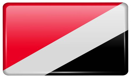 sealand: Flags of Sealand Principality in the form of a magnet on refrigerator with reflections light. Vector illustration