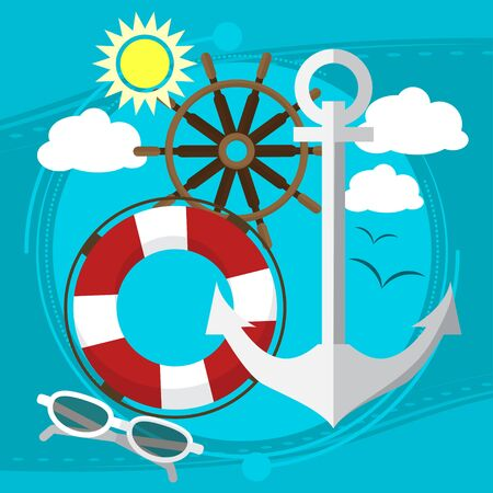 lifeline: Sunny weather at the sea, swim in the boat with a lifeline in sunglasses. With seagulls in the background. Vector illustration