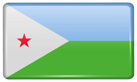 Flags of Djibouti in the form of a magnet on refrigerator with reflections light. Vector illustration