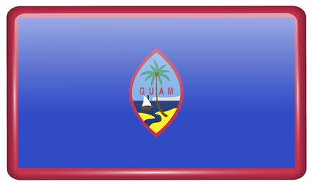 guam: Flags of Guam in the form of a magnet on refrigerator with reflections light. Vector illustration Illustration
