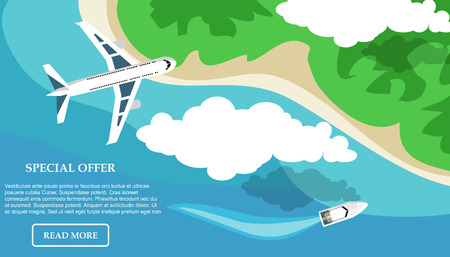 Travel, tourism in a flat style. World travel banner. Water tourism. Summer holidays, vacation. Vector illustration
