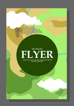 hike: Flyers with the concept of a hike in the mountains. Extreme entertainment. Check areas. Life of survival in the open or in the woods. Vector illustration Illustration