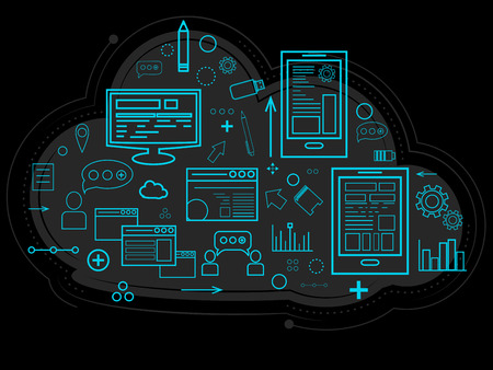 Cloud data is stored on the server, information about people, graphs, reports, the memory of work and settings. Documents and reports. Linear design. Vector illustration