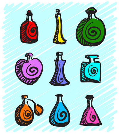 perfumer: Set of colorful bottles with spirits hand-drawn on a blue background. Vector illustration