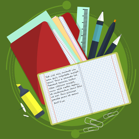 Books and school process. Writing and Drawing in zoshite. Office prednadlezhnosti and study subjects. Back to school. Vector illustration