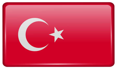 Flags of Turkey in the form of a magnet on refrigerator with reflections light. Vector illustration Illustration