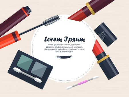 eye shadows: Composition with lipsticks, eye shadows and mascara on the table with place for your text. Vector illustration