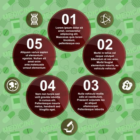 autopsy: Abstract medicine background with circles and icons. Infographic. Vector illustration Illustration
