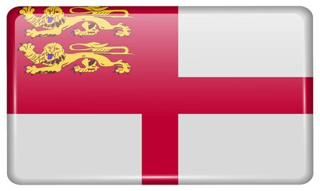 sark: Flags of Sark in the form of a magnet on refrigerator with reflections light. Vector illustration