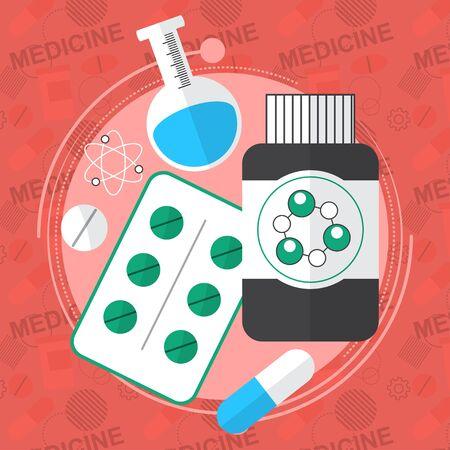 Medicine flat icons set. Pills box, tablets, pill, blister vitamins liquid medicine. Vector illustration