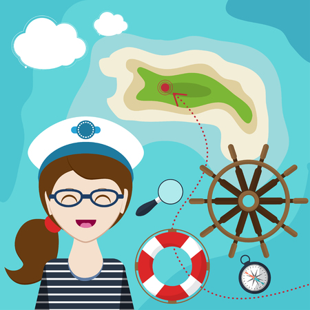 lifeline: mapwith a sailor, lifeline, steering wheel, compass and magnifier on background with sea map. Child Game. Help the girl-sailor swim to shore. Vector illustration