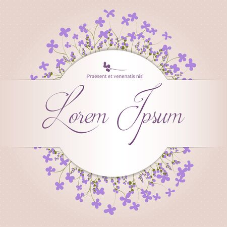 floral arrangement: Beautiful floral arrangement with violet flowers on a beige background with space for your text. Postcard. Vector illustration