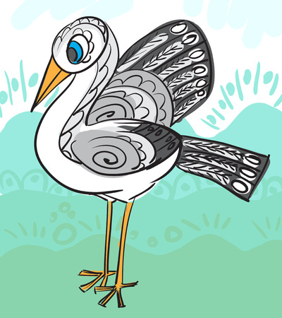 Card with decorative stork for your design. Vector illustration