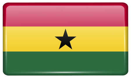 proportional: Flags of Ghana in the form of a magnet on refrigerator with reflections light. Vector illustration