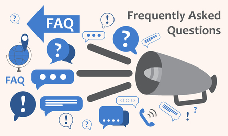 collect: Speaker with a lot of questions and exclamation marks. Information exchange theme icon, collect and analyze info. Question and answer. FAQ. Vector illustration Illustration