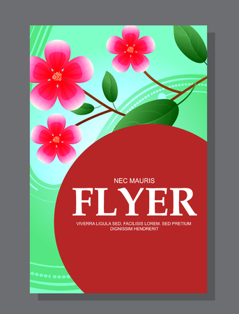 Red flowers on a flyer. Can be used as greeting cards or wedding invitation. Vector illustration
