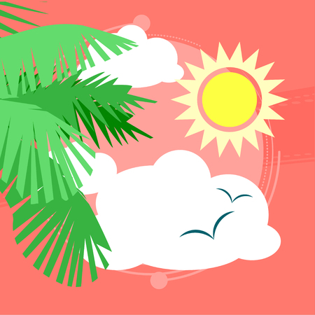 Sunny day at the spa with a view of palm trees and seagulls in the sky. Vector illustration