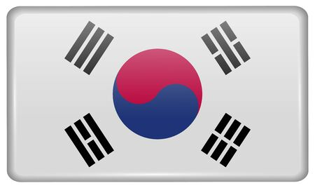 graphical chart: Flags of Korea South in the form of a magnet on refrigerator with reflections light. Vector illustration