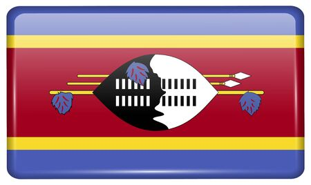 swaziland: Flags of Swaziland in the form of a magnet on refrigerator with reflections light. Vector illustration