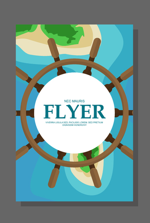 Flyer in flat style with a map of the island to travel and vacation on a yacht. Vector illustration Illustration