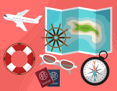 lifeline: Holidays and travel to the islands with a passport facilities, compass, sunglasses, a lifeline. By plane or ship. Vector illustration
