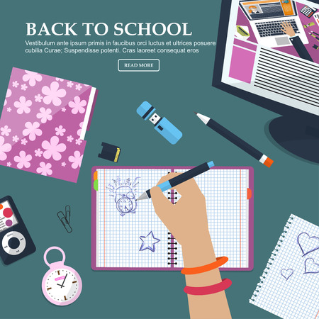 schoolgirls: Desk Schoolgirls with exercise books and stationery. With place for your text. Vector illustration