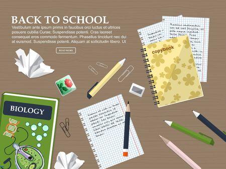 Composizione torna a scuola con libri scolastici, quaderni e articoli di cancelleria. Illustrazione vettoriale Archivio Fotografico - 61291689