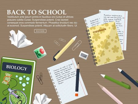 Composition back to school with schoolbook, exercise books and stationery. Vector illustration Illustration