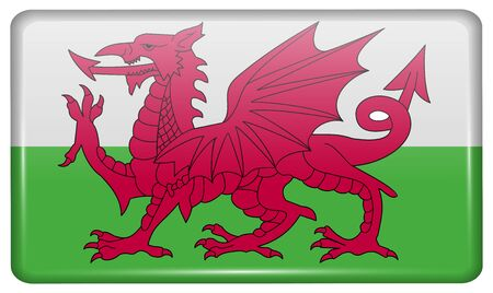 cymru: Flags of Wales in the form of a magnet on refrigerator with reflections light. Vector illustration