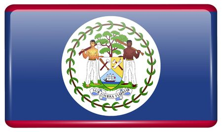 belize: Flags of Belize in the form of a magnet on refrigerator with reflections light. Vector illustration
