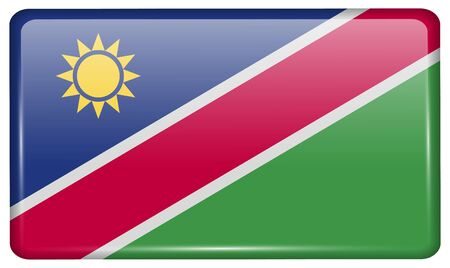 flagged: Flags of Namibia in the form of a magnet on refrigerator with reflections light. Vector illustration