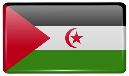 Flags of Western Sahara in the form of a magnet on refrigerator with reflections light. Vector illustration Illustration