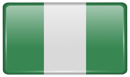 anthem: Flags of Nigeria in the form of a magnet on refrigerator with reflections light. Vector illustration