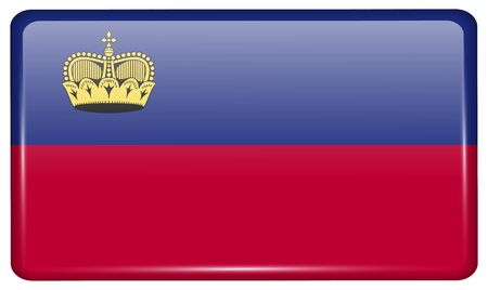 li: Flags of Liechtenstein in the form of a magnet on refrigerator with reflections light. Vector illustration