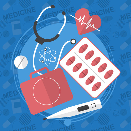 Medicine flat icons set. Pills box, tablets, pill, blister vitamins liquid medicine. Vector illustration