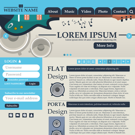 Web design elements in retro style blue and beige. Template. Music. Vector illustration