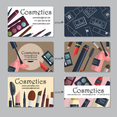 makeup artist: Makeup artist business card. Set of cosmetics for your design. Vector illustration Illustration