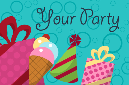 bannerette: card your party with gifts, balloons, ice cream and hat for your design. Vector illustration