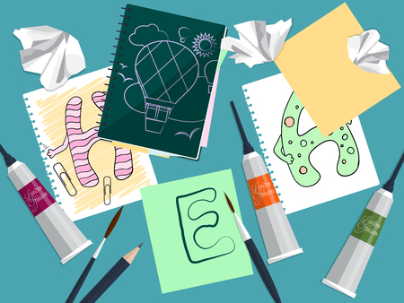 sketchpad: Set with notebook, drawings and art supplies on the table. Vector illustration Illustration