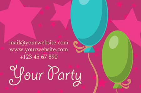 card your party with gifts, balloons, ice cream and hat for your design. Vector illustration
