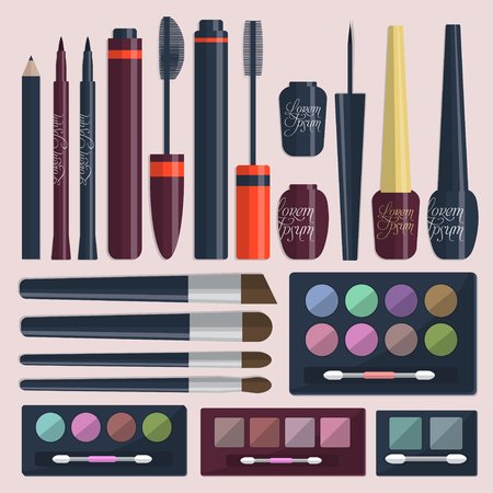 womanhood: Large collection of womens cosmetics for the eyes on a pink background. Vector illustration Illustration