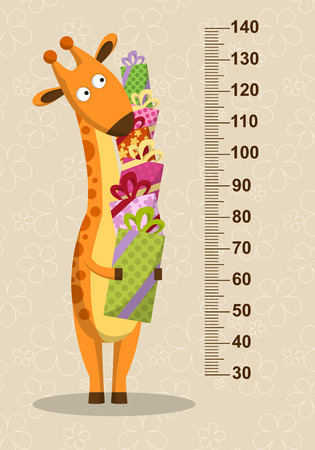 elevation meter: Cartoon giraffe with gifts on a beige background. Stadiometer. Vector illustration