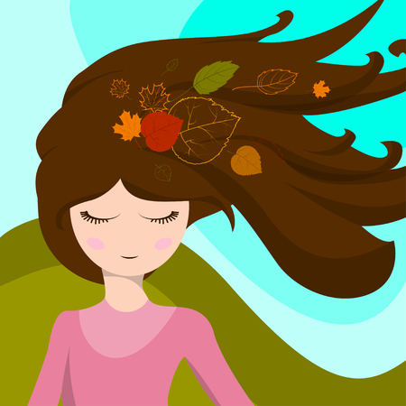 developed: Cute girl with leaves in her hair, which are developed in the wind. Vector illustration
