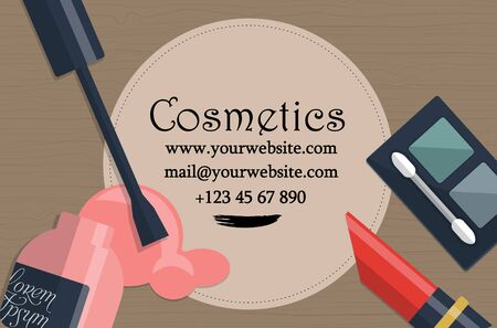 womanhood: Set of female cosmetics on a table with place for your text. Vector illustration Illustration