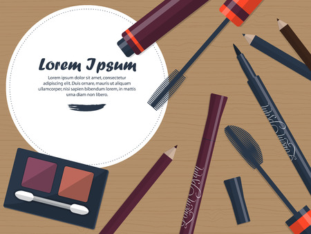 beauty products: Set of female cosmetics for the eyes on a table with space for your advertising. Vector illustration