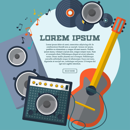combo: Set of guitar, combo amp, speaker, notes and records with space for your advertising. Frame. Vector illustration Illustration