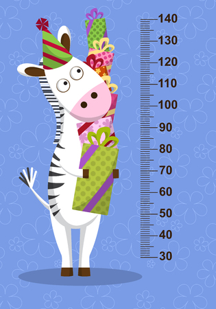 Cartoon zebra with gifts on blue background. Stadiometer. Vector illustration